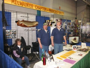 Chapter 35's Muskie Expo Booth with Mary Pokora, Wayne and Warren Jelinski